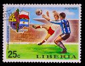 LIBERIA - CIRCA 1974: A post stamp printed LIBERIA, Poland again — Stock Photo