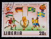LIBERIA - CIRCA 1982: A post stamp printed LIBERIA, Sweden, Germ — Stock Photo