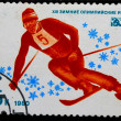 USSR - CIRCA 1980: A stamp printed in USSR, swimming, mountain s — Stock Photo