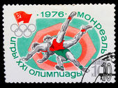 USSR - CIRCA 1976: A stamp printed in USSR, Summer Olympics in M — Foto de Stock