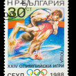 BULGARIA - CIRCA 1988: A stamp printed in BULGARIA, wrestling, 1 — Stock Photo