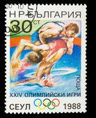 BULGARIA - CIRCA 1988: A stamp printed in BULGARIA, wrestling, 1 — Stock Photo