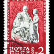USSR - CIRCA 1970: stamp printed in USSR, shows Lenin monument a — Stock Photo