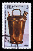 CUBA - CIRCA 1980: A stamp printed in CUBA , old pitcher, decant — Stock Photo