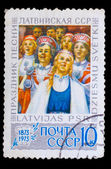 LATVIA - CIRCA 1978: A stamp printed in LATVIA, holiday songs, a — Stock Photo