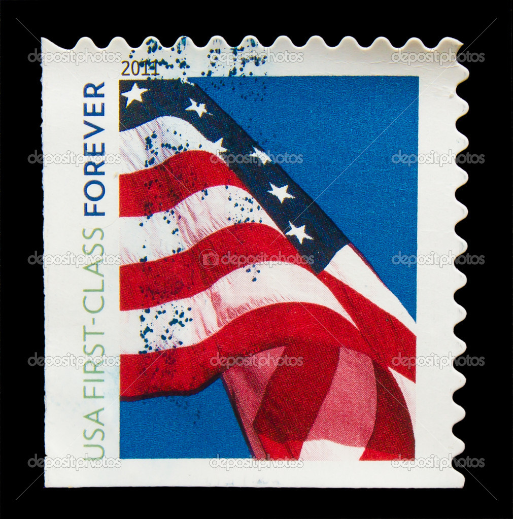 UNITED STATES OF AMERICA - CIRCA 2011: A stamp printed in USA, shows Flag, usa first -class forever, circa 2011 — Stock Photo #15997471