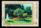 USSR- CIRCA 1973: A stamp printed by USSR, painter Monet, lady i — Foto Stock