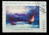 """USSR - CIRCA 1974: A stamp printed in USSR, IK Aivazovsky """"Storm — Stock Photo"""