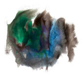 Abstract blue green black isolated watercolor stain raster illus — Stock Photo