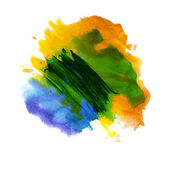 Abstract green blue yellow isolated watercolor stain raster illu — Stock Photo
