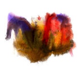 Abstract isolated yellow red blue watercolor stain raster illust — Stock Photo