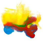 Abstract yellow red blue isolated watercolor stain raster illust — Stock Photo
