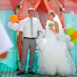 Bride and groom during newlyweds wedding ceremony — ストック写真