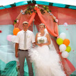 Bride blonde and groom during newlyweds wedding ceremony - Stok fotoraf