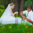 Couple at picnic newlyweds wedding in forest glade, groom pour — Stock Photo #16207033