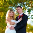 Couple at the wedding are in the yellow autumn forest, the groom — Stock Photo
