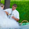 Groom pours wine into a glass at a wedding at a picnic in a gree — Stock Photo