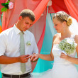 Stock Photo: Groom wears the ring bride at a wedding couple newlyweds registr