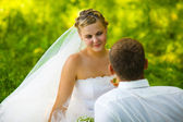 Beautiful bride blonde woman groom wedding couples woman on a gr — Stock Photo