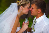 Bride and groom at wedding couple holding glass of touching and — Stock Photo