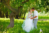 Bride and groom newlyweds kissing in woods on green background W — Stock Photo