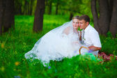 Couple at wedding newlyweds a picnic in forest glade, bride groo — Stock Photo