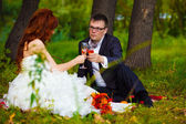 In Russia newlyweds couple bride and groom sitting on green gras — Stock Photo