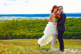 Newlyweds are on a high mountain wedding, the bride and groom, b — Photo