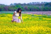 žena shromažďuje žluté květy v poli na jaře — Stock fotografie