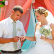 Groom wears ring bride wedding couple are at time of registratio — Stock Photo