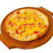 Royalty-Free Stock Photo: Appetizing pizza with cheese wooden tray, close-up on white back