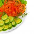 Salad of cucumber and tomato salad appetizer with slices of fenn — Stock Photo