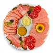 Sliced smoked ham sausage appetizer mustard, horseradish and dil — Foto de Stock