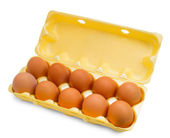 Box egg packaging grid isolated on white background — Stock Photo