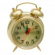 Alarm clock gold isolated (clipping path) — Stock Photo #16266053