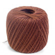 Hank brown yarn isolated on a white background — Stock Photo