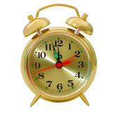 Clock gold alarm isolated (clipping path) — Stock Photo