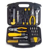 Set yellow tools box isolated on white — Stock Photo