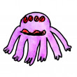 Watercolor monster evil hero octopus hand drawing isolated — Stock Photo