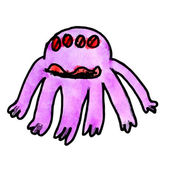 Watercolor monster evil hero octopus hand drawing isolated — 图库照片