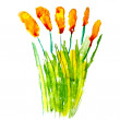 Abstract grass yellow floral watercolor flower paintings hand is — Stockfoto
