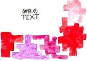 Oude tetris rode puzzel symbool sieraad handgemaakte aquarel — Stockfoto
