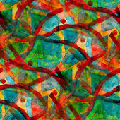 Green red seamless cubism abstract art Picasso texture watercolo — Stock Photo