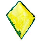 ペイント ブラシ テクスチャの黄色の三角形グリーン水彩画スポット斑 — ストック写真