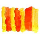 Farbe pinsel textur gelb orange aquarell fleck fleck zu isolieren — Stockfoto