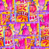 Pink yellow seamless cubism abstract art Picasso texture waterco — Stock Photo