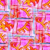 Růžová bezešvé kubismus abstraktního umění picasso textury akvarel wal — Stock fotografie