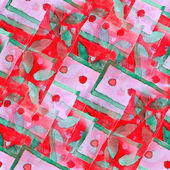 Red green seamless cubism abstract art Picasso texture watercolo — Stock Photo