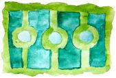 Kunst daub aquarel groen blauw patroon sieraad achtergrond abstr — Stockfoto