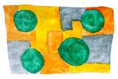 水彩黄色緑青い背景抽象紙アート ダアブ — ストック写真